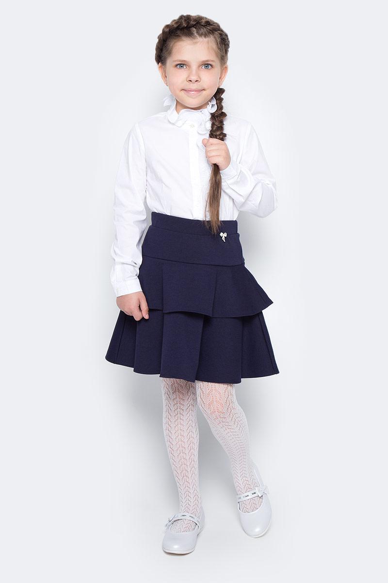 Блузка для девочки Vitacci, цвет: белый. 2173010-01. Размер 1342173010-01Школьная блузка для девочки из выполнена их хлопка и эластана. Модель с длинными рукавами застегивается на пуговицы.