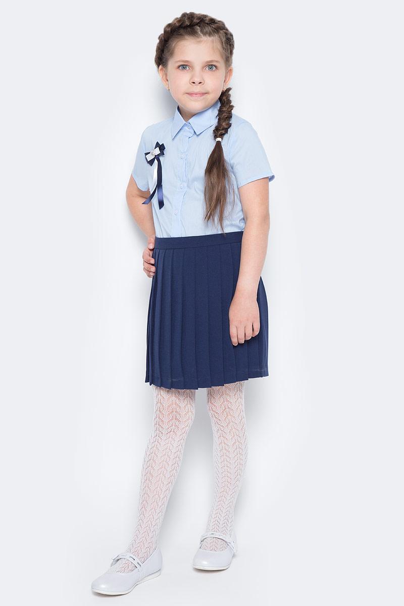 Рубашка для девочки Nota Bene, цвет: голубой. CWR27021A10. Размер 122CWR27021A10Стильная рубашка для девочки от Nota Bene выполнена из хлопка и полиэстера с добавлением лайкры. Модель с отложным воротником и короткими рукавами застегивается на пуговицы по всей длине.