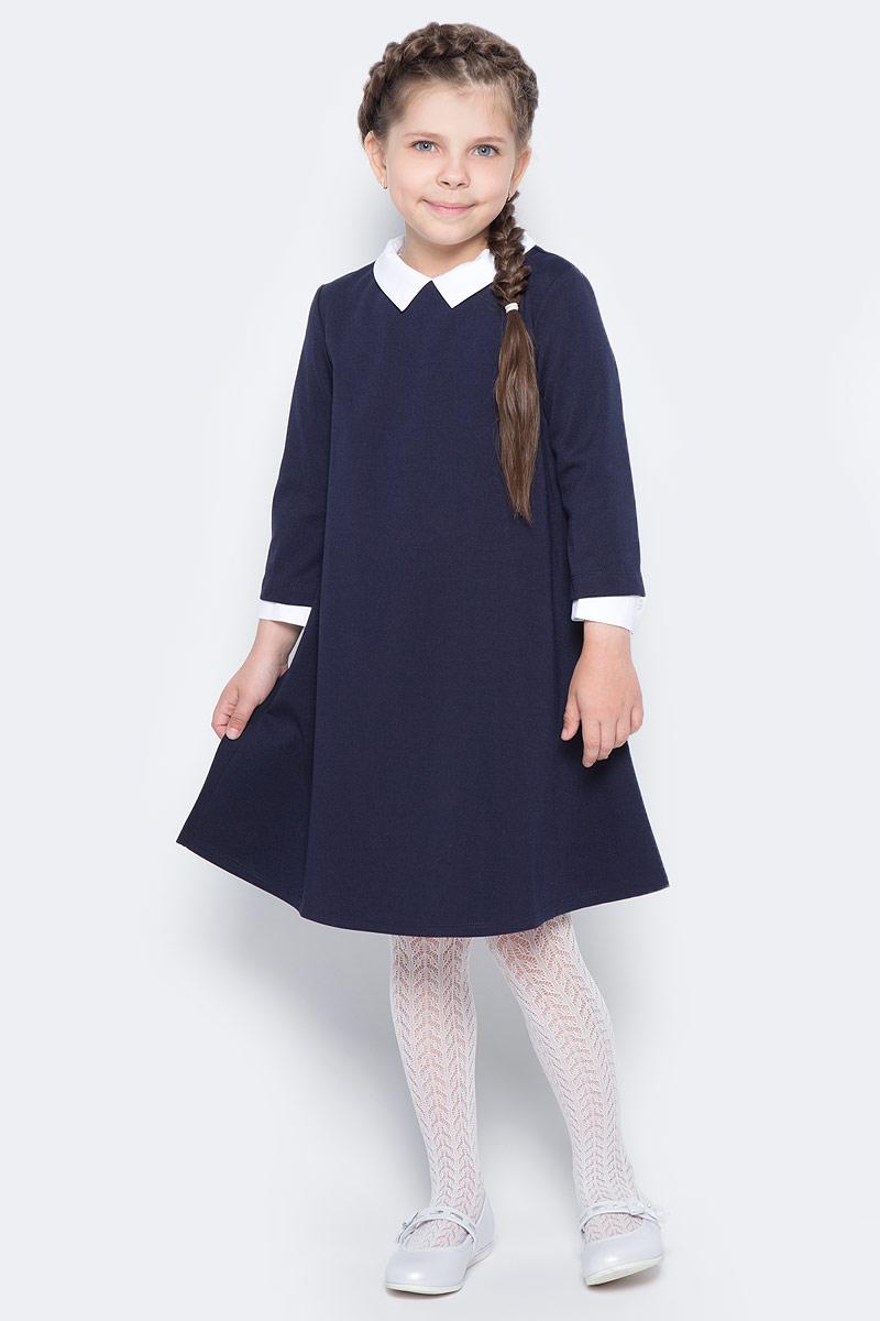 Платье для девочки Orby School, цвет: темно-синий, белый. 70444_OLG_вар.1. Размер 134/140, 9-10 лет70444_OLG_вар.1Классическое платье для девочки Orby School выполнено из полиэстера и вискозы с небольшим добавлением эластана и исполнено в лаконичном стиле. Модель А-силуэта с отложным воротником и рукавами 1/2 застегивается на потайную застежку-молнию, расположенную на спинке. Такое платье прекрасно сочетается со школьными аксессуарами и строгой обувью.