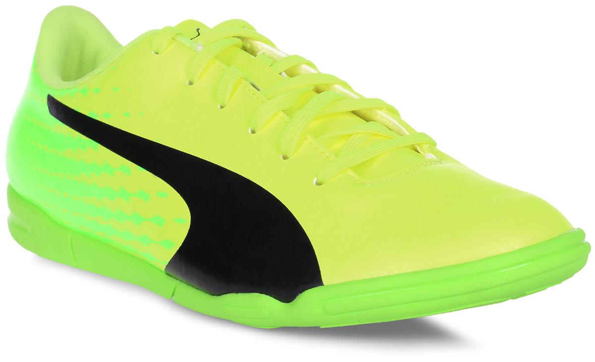 Кроссовки мужские для футзала Puma Evospeed 17.5 IT, цвет: желтый. 10402701. Размер 7,5 (40)10402701Новые кроссовки Evospeed 17.5 IT - это качественная модель по доступной цене в линейке футбольной обуви Evospeed от Puma, в которой прочность и комфорт сочетаются со свежим дизайном. Мягкая и прочная искусственная кожа верха вместе с удобной колодкой и прямой шнуровкой по центру обеспечивают идеальную посадку по ноге и отличное чувство мяча, а также долговечность, износостойкость и универсальность.