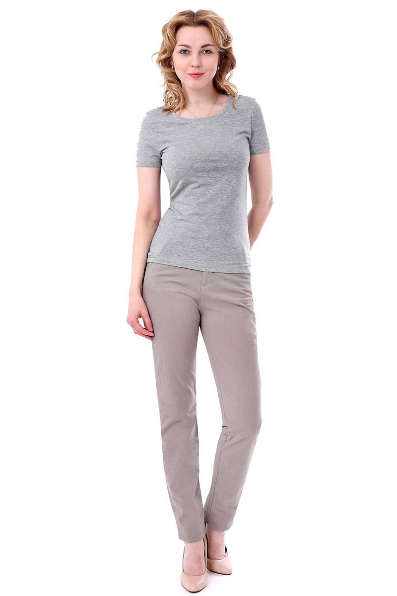 Футболка женская F5, цвет: светло-серый. 170062_12380/F5/P. Размер S (44)170062_12380/F5/P, TR Porte, grey melangeЖенская футболка F5, изготовленная из качественного материала, поможет создать модный образ и станет отличным дополнением к повседневному гардеробу. Модель оформлена вышитым логотипом бренда.