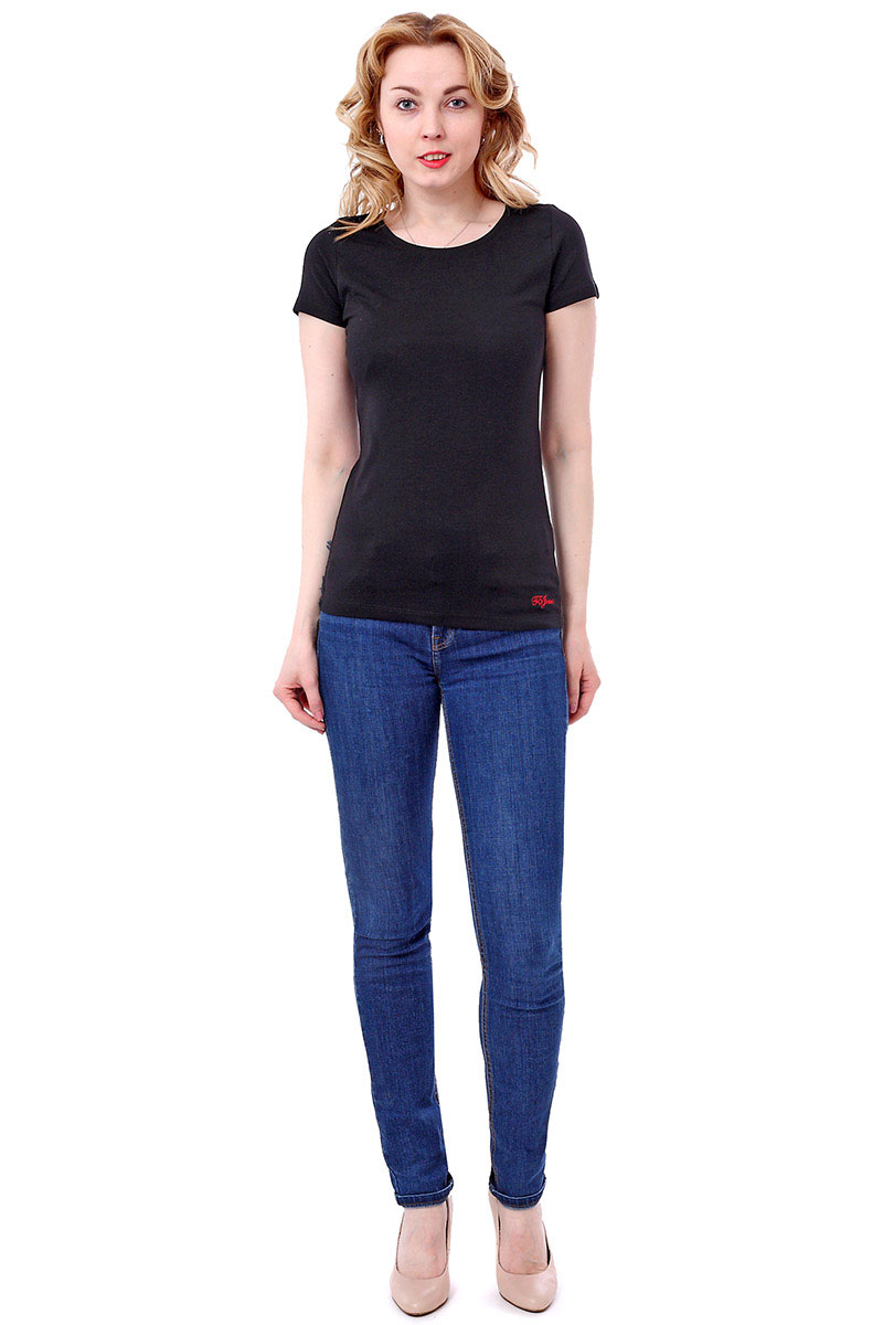 Футболка женская F5, цвет: черный. 170063_12380/F5/P. Размер L (48)170063_12380/F5/P, TR Porte, blackЖенская футболка F5, изготовленная из качественного материала, поможет создать модный образ и станет отличным дополнением к повседневному гардеробу. Модель оформлена вышитым логотипом бренда.