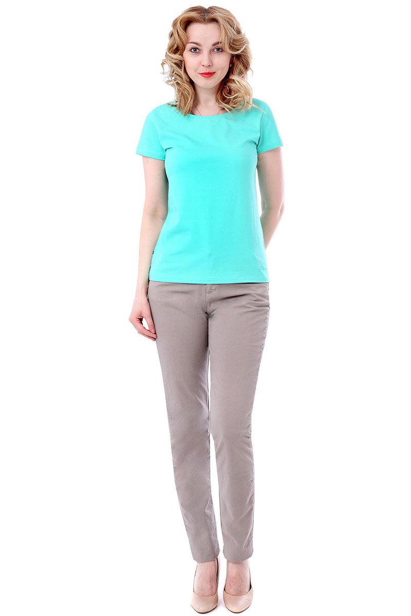 Футболка женская F5, цвет: ментоловый. 170064_12380/F5/P. Размер M (46)170064_12380/F5/P, TR Porte, mintЖенская футболка F5, изготовленная из качественного материала, поможет создать модный образ и станет отличным дополнением к повседневному гардеробу. Модель оформлена вышитым логотипом бренда.