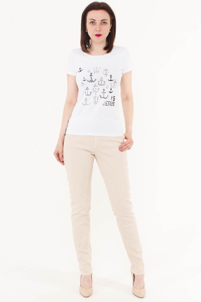 Футболка женская F5, цвет: белый. 170071_12380. Размер S (44)170071_12380/Anchor2, TR Porte, whiteЖенская футболка F5, изготовленная из качественного материала, поможет создать модный образ и станет отличным дополнением к повседневному гардеробу. Модель оформлена оригинальным принтом.