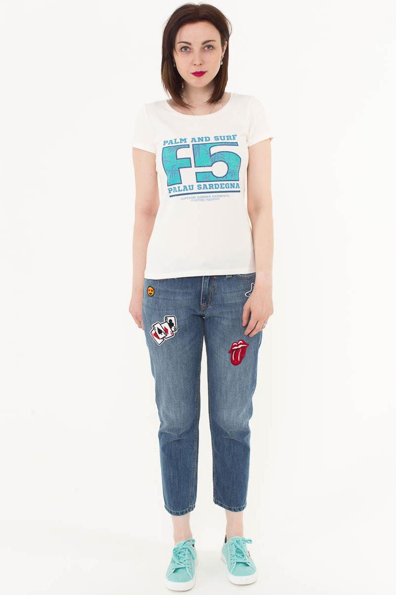 Футболка женская F5, цвет: слоновая кость. 170074_12380. Размер L (48)170074_12380/Palau, TR Porte, ecruЖенская футболка F5, изготовленная из качественного материала, поможет создать модный образ и станет отличным дополнением к повседневному гардеробу. Модель оформлена оригинальным принтом.