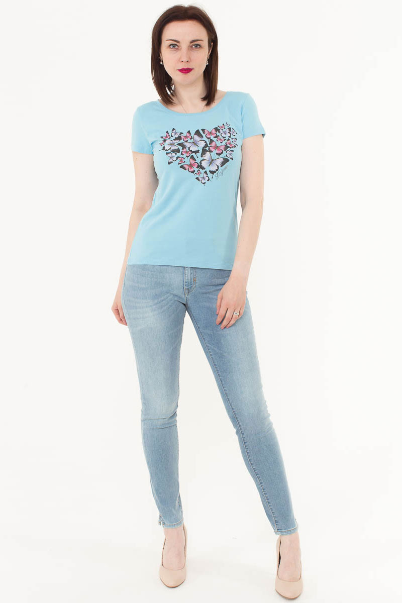 Футболка женская F5, цвет: голубой. 170075_12380. Размер XS (42)170075_12380/Butterfly, TR Porte, blueЖенская футболка F5, изготовленная из качественного материала, поможет создать модный образ и станет отличным дополнением к повседневному гардеробу. Модель оформлена оригинальным принтом.
