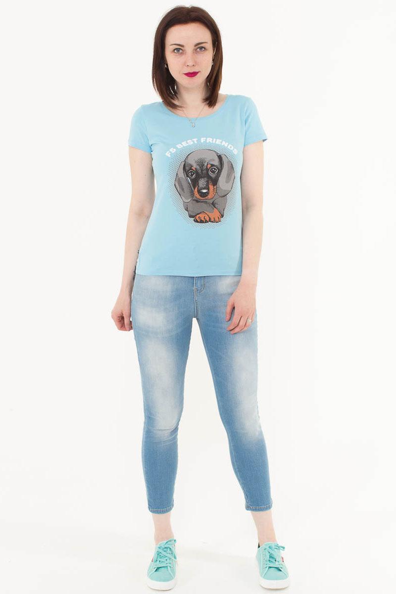 Футболка женская F5, цвет: голубой. 170078_12380. Размер M (46)170078_12380/Best friends, TR Porte, blueЖенская футболка F5, изготовленная из качественного материала, поможет создать модный образ и станет отличным дополнением к повседневному гардеробу. Модель оформлена оригинальным принтом.
