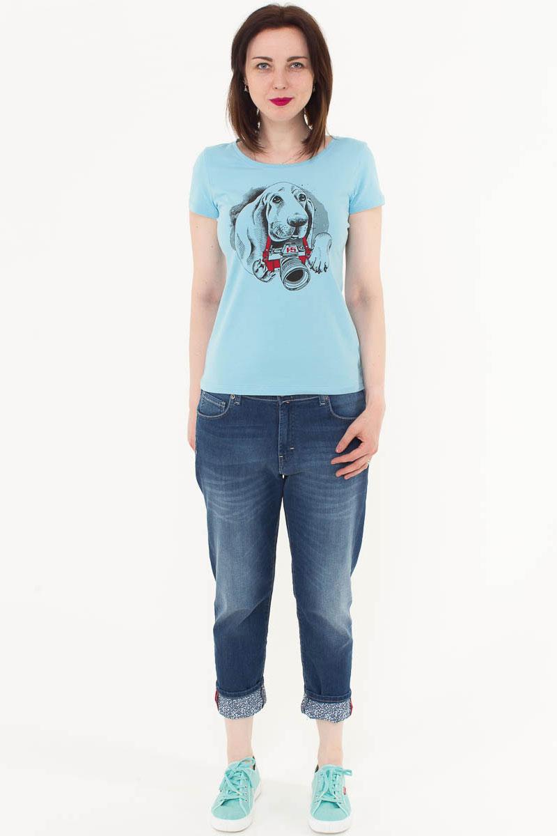 Футболка женская F5, цвет: голубой. 170079_12380. Размер M (46)170079_12380/Dog, TR Porte, blueЖенская футболка F5, изготовленная из качественного материала, поможет создать модный образ и станет отличным дополнением к повседневному гардеробу. Модель оформлена оригинальным принтом.