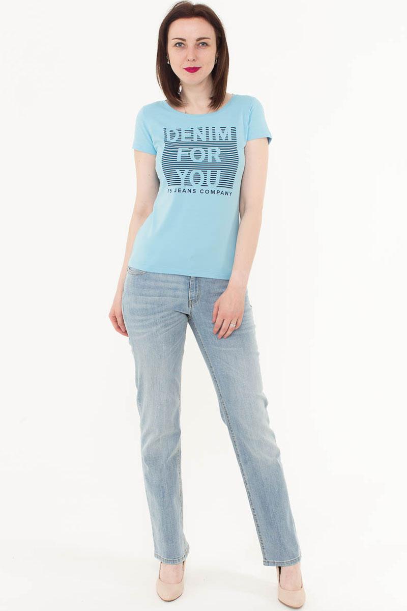 Футболка женская F5, цвет: голубой. 170082_12380. Размер M (46)170082_12380/Denim, TR Porte, blueЖенская футболка F5, изготовленная из качественного материала, поможет создать модный образ и станет отличным дополнением к повседневному гардеробу. Модель оформлена оригинальным принтом.