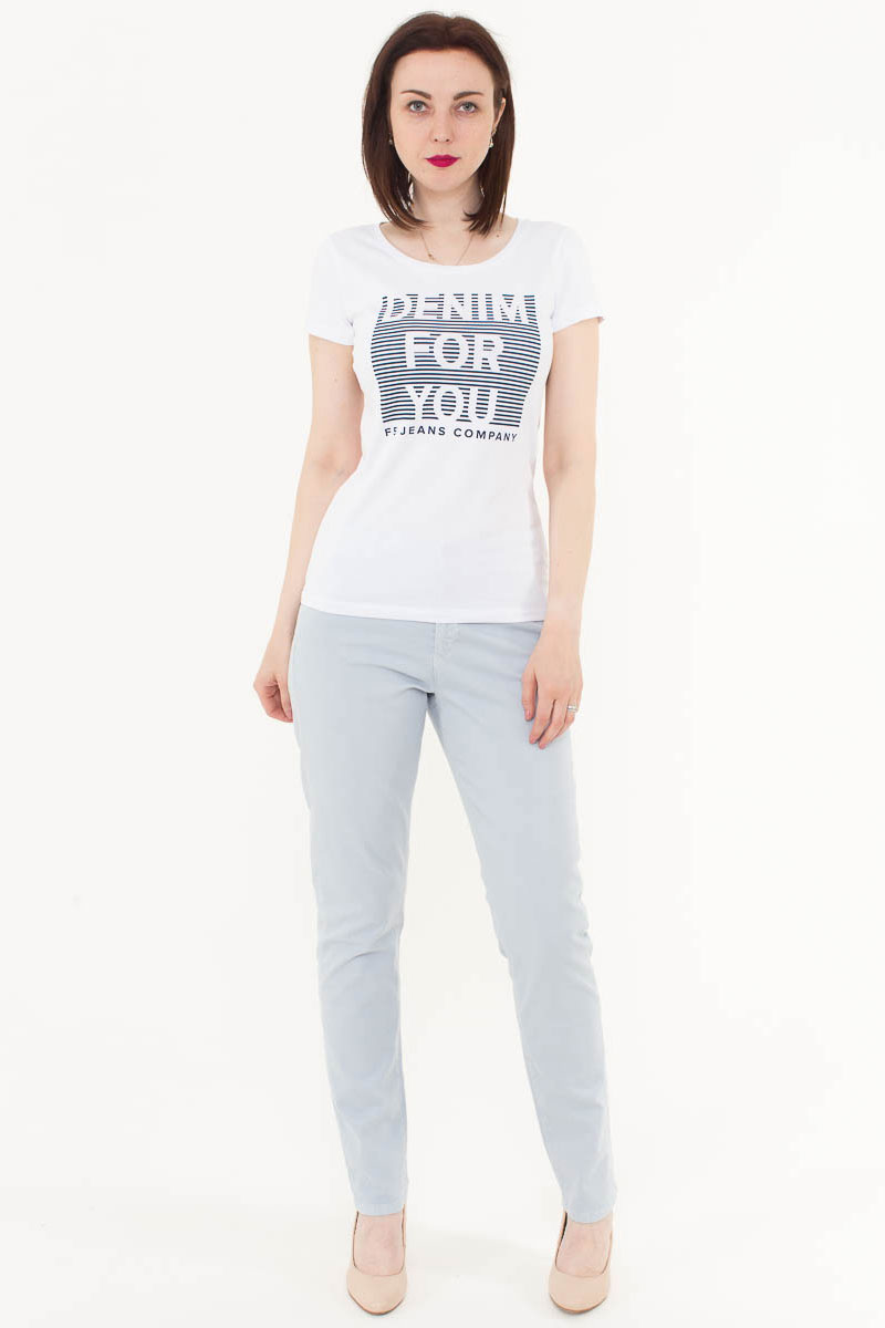 Футболка женская F5, цвет: белый. 170083_12380. Размер S (44)170083_12380/Denim, TR Porte, whiteЖенская футболка F5, изготовленная из качественного материала, поможет создать модный образ и станет отличным дополнением к повседневному гардеробу. Модель оформлена оригинальным принтом.