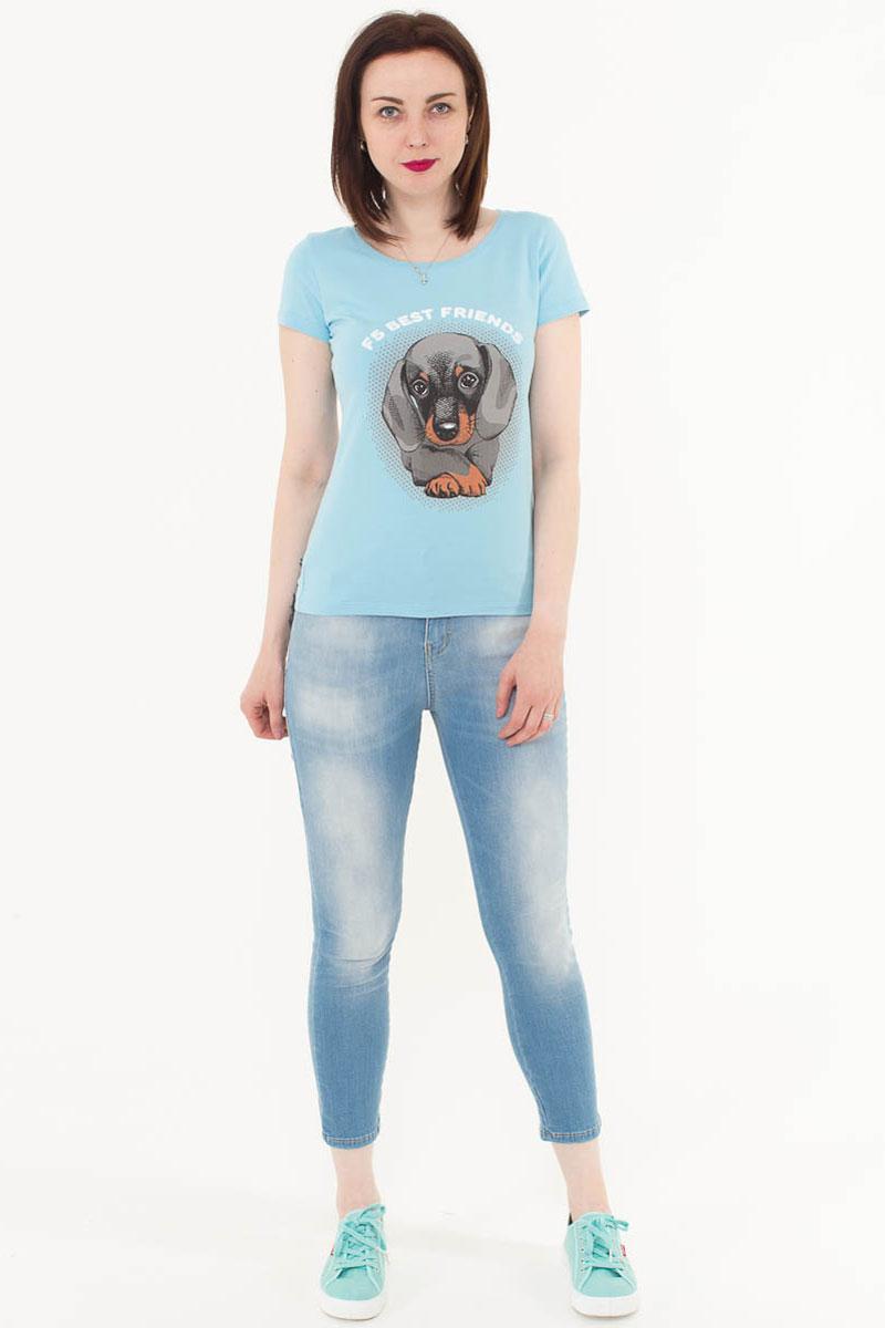 Джинсы женские F5, цвет: голубой. 175078_19747. Размер 30-32 (46-32)175078_19747, Blue denim Hilary str., w.lightЖенские укороченные джинсы F5 выполнены из качественного эластичного материала. Облегающая модель на талии застегивается на пуговицу и имеет ширинку на застежке-молнии. На поясе имеются шлевки для ремня. Джинсы представляют собой классическую пятикарманку: два втачных и накладной карманы спереди и два накладных кармана сзади.