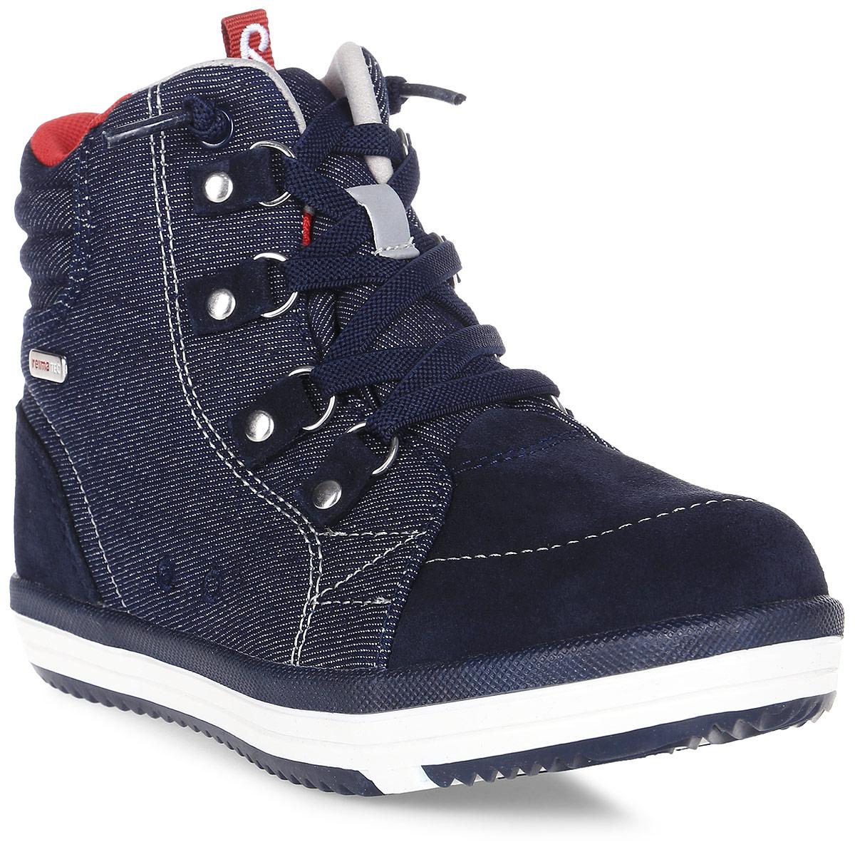Ботинки детские Reima Wetter Jeans, цвет: синий. 5693216980. Размер 295693216980Детские ботинки Reima Wetter Jeans полностью непромокаемые, станут отличным вариантом как для прогулок по городу, так и для веселых игр на улице. Верхняя часть изготовлена из гибкого полиамида, носовая и задняя части усилены замшей из коровьей кожи. Обувь снабжена уникальными съемными стельками Reima с принтом Happy Fit, которые помогают правильно определить размер.