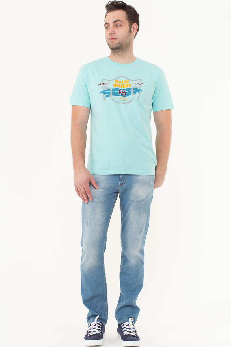 Футболка мужская F5, цвет: бирюзовый. 170093_02285. Размер XXXL (56)170093_02285/Riders, TR Plain, mintМужская футболка F5, изготовленная из качественного материала, поможет создать модный образ и станет отличным дополнением к повседневному гардеробу. Модель полуприлегающего кроя оформлена оригинальным принтом.