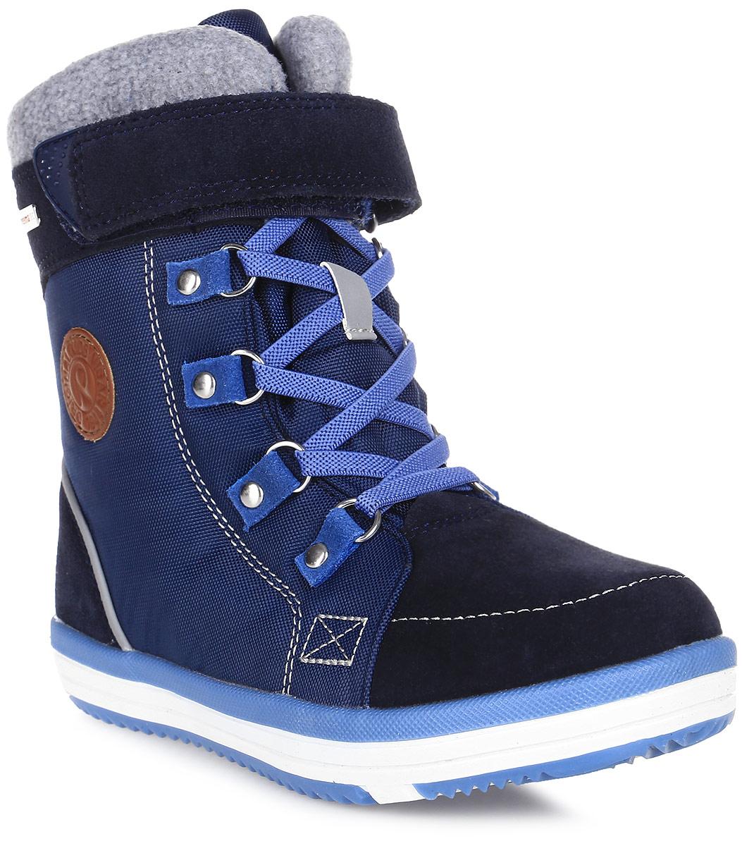Ботинки детские Reima Freddo, цвет: синий. 5693206980. Размер 295693206980Детские ботинки Reima Freddo полностью непромокаемые, станут отличным вариантом как для прогулок по городу, так и для веселых игр на улице. Верх изготовлен из очень красивой телячьей замши и текстиля, а подошва из термопластичной резины обеспечивает хорошее сцепление на любой поверхности. Рисунок Happy Fit на съемных фетровых стельках поможет подобрать нужный размер, а теплый фетр согреет ножки в холодную погоду.