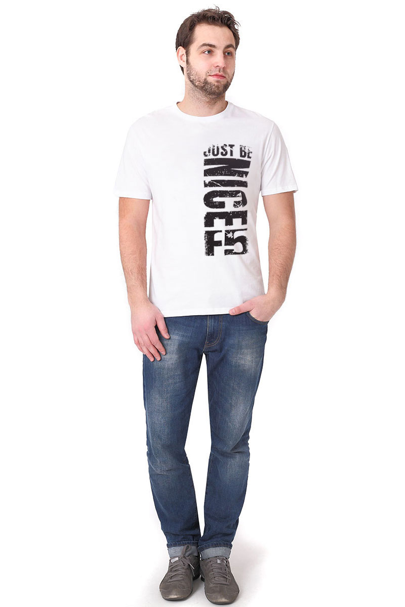 Футболка мужская F5, цвет: белый. 170100_02285. Размер M (48)170100_02285/Nice, TR Plain, whiteМужская футболка F5, изготовленная из качественного материала, поможет создать модный образ и станет отличным дополнением к повседневному гардеробу. Модель полуприлегающего кроя оформлена оригинальным принтом.