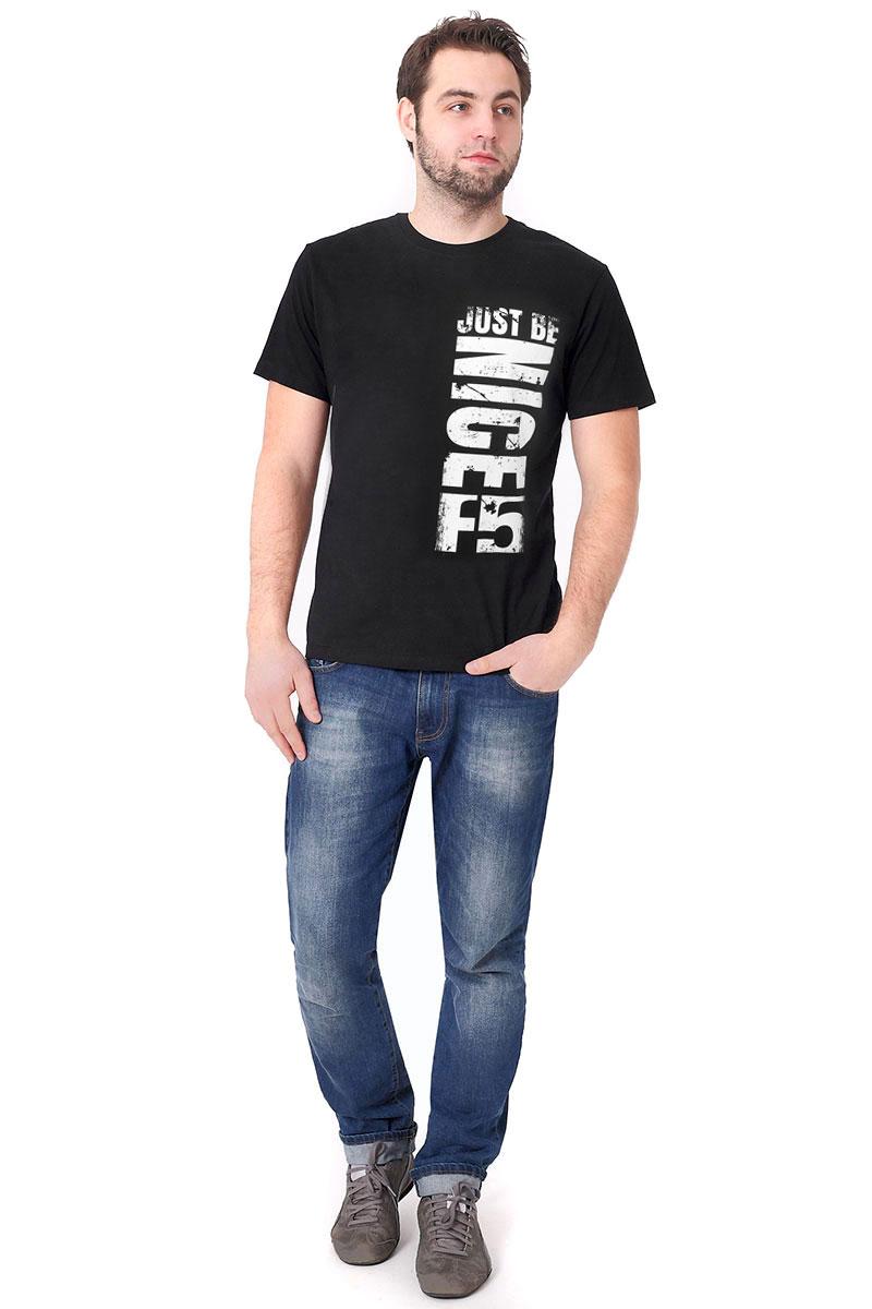 Футболка мужская F5, цвет: черный. 170101_02285. Размер L (50)170101_02285/Nice, TR Plain, blackМужская футболка F5, изготовленная из качественного материала, поможет создать модный образ и станет отличным дополнением к повседневному гардеробу. Модель полуприлегающего кроя оформлена оригинальным принтом.