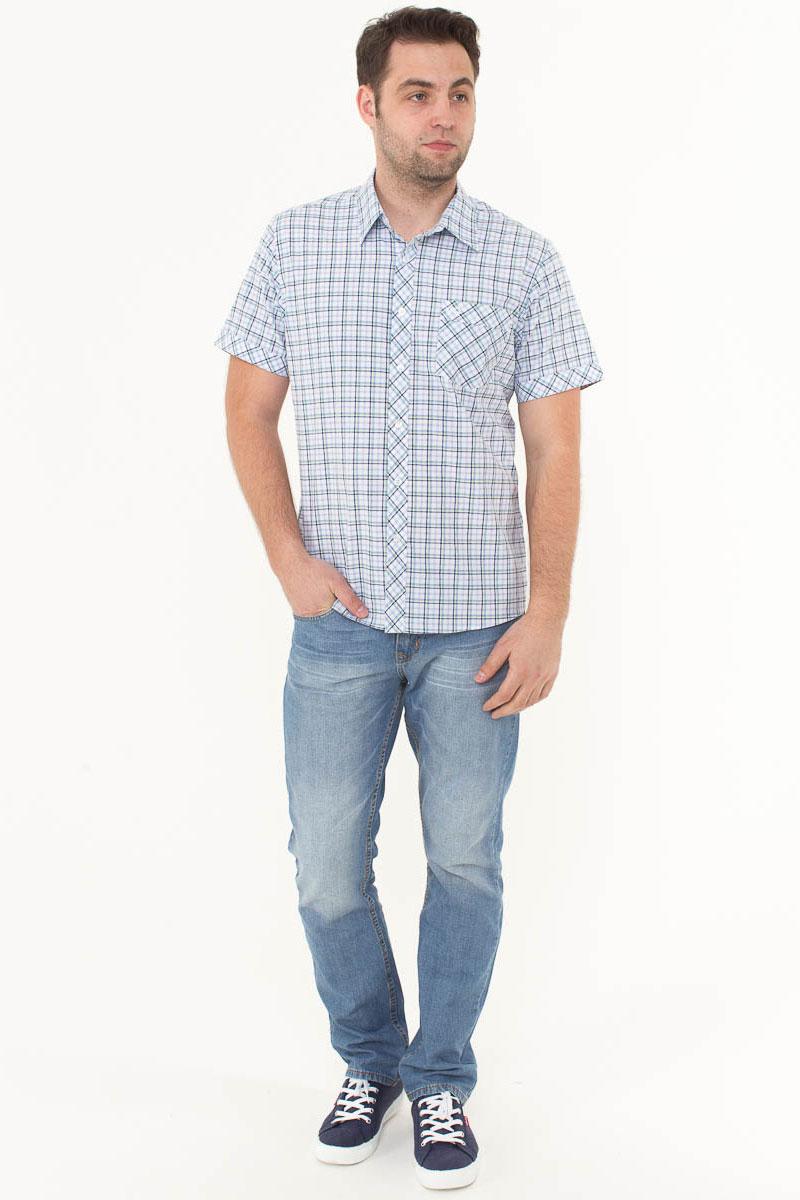 Рубашка мужская F5, цвет: белый, голубой, зеленый. 176003_07262. Размер XL (52)176003_07262, Cotton, Check 3Стильная мужская рубашка F5, изготовленная из высококачественного материала, поможет создать модный образ и станет отличным дополнением к повседневному гардеробу. Модель прямого кроя с отложным воротничком застегивается на пуговицы и дополнена накладным карманом. Рубашка подойдет для офиса, прогулок или дружеских встреч и будет отлично сочетаться с джинсами и брюками.
