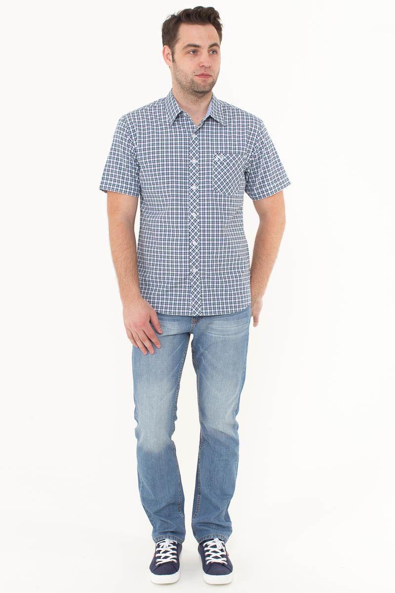 Рубашка мужская F5, цвет: белый, синий, зеленый. 176006_07151. Размер M (48)176006_07151, Cotton, Check 6Стильная мужская рубашка F5, изготовленная из высококачественного материала, поможет создать модный образ и станет отличным дополнением к повседневному гардеробу. Модель прямого кроя с отложным воротничком застегивается на пуговицы и дополнена накладным карманом. Рубашка подойдет для офиса, прогулок или дружеских встреч и будет отлично сочетаться с джинсами и брюками.