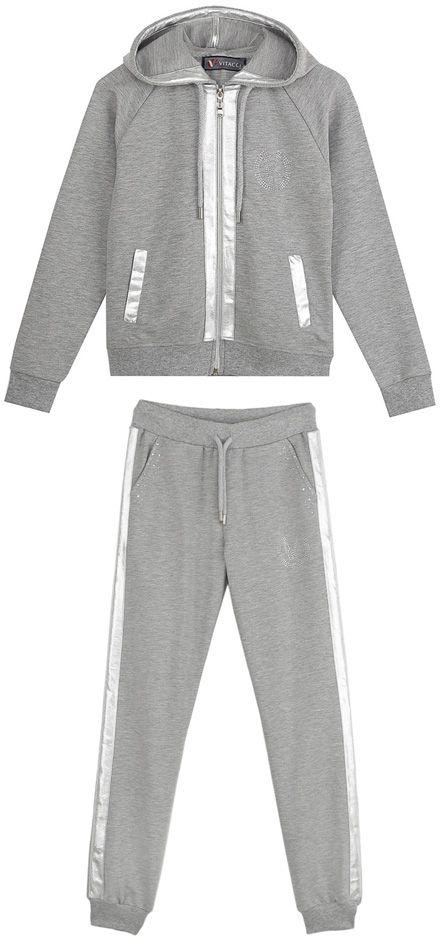 Спортивный костюм для девочек Vitacci, цвет: серый. 2171463-02. Размер 1522171463-02Спортивный костюм для девочки украшен декоративными элементами из экокожи и страз.
