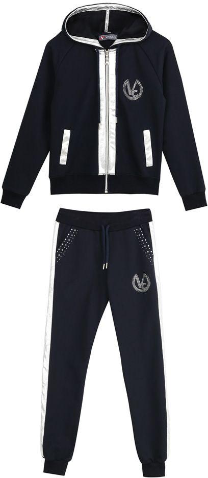 Спортивный костюм для девочек Vitacci, цвет: синий. 2171463-04. Размер 1402171463-04Спортивный костюм для девочки украшен декоративными элементами из экокожи и страз.