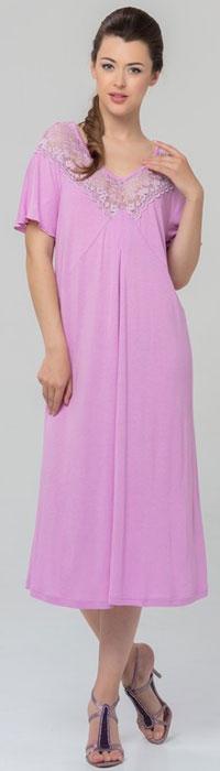 Ночная рубашка женская Tesoro, цвет: розовый. 461С1. Размер 60461С1Женская ночная сорочка Tesoro изготовлена из высококачественного нежного вискозного материала. Модель с V-образным вырезом горловины и короткими рукавами декорирована мягким кружевом.