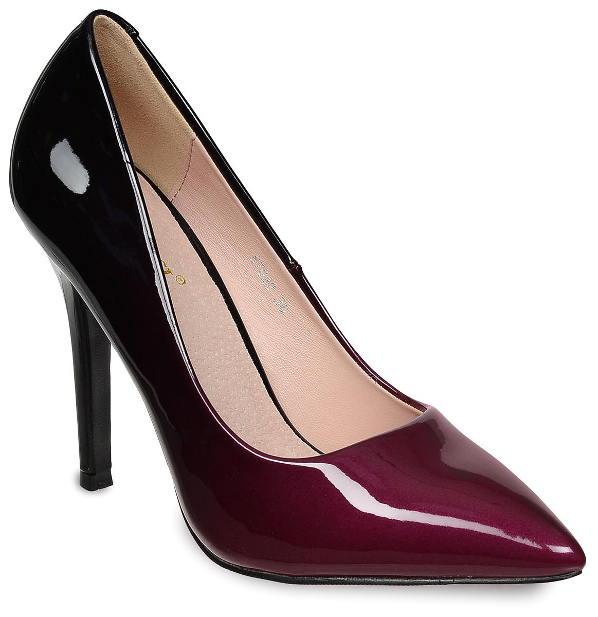 Туфли женские Vitacci, цвет: черный, красный. 87022. Размер 3687022Стильные женские туфли Vitacci изготовлены из лакированной искусственной кожи. Цвет изделия плавно переходит из одного в другой. Зауженный носок добавит женственности в ваш образ, а высокий каблук-шпилька достаточно устойчив. Подошва из термопластичного материала с рельефным протектором обеспечивает отличное сцепление на любой поверхности.