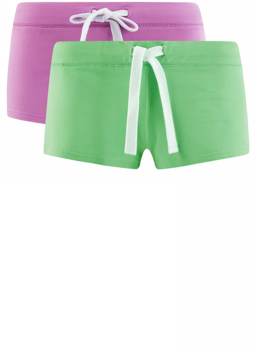 Шорты женские oodji Ultra, цвет: фиолетовый, зеленый, 2 шт. 17001029T2/46155/19L9N. Размер XXS (40)17001029T2/46155/19L9NУдобные женские шорты oodji Ultra изготовлены из натурального хлопка.Шорты стандартной посадки имеют эластичный пояс на талии, дополненный шнурком.