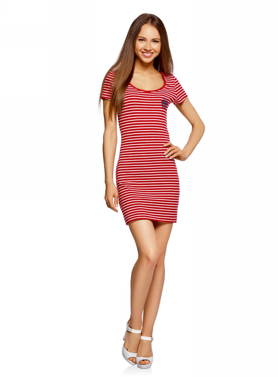 Платье oodji Ultra, цвет: красный, белый. 14001182-1/47420/4512S. Размер XS (42)14001182-1/47420/4512SПлатье oodji изготовлено из качественного эластичного хлопка. Модель-мини выполнена с короткими рукавами и глубоким круглым вырезом. Платье декорировано на груди оригинальной вышивкой.