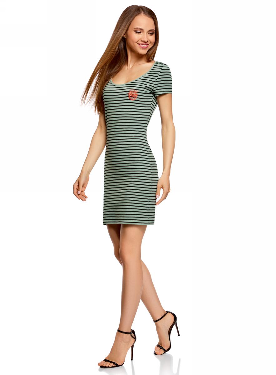Платье oodji Ultra, цвет: хаки, черный. 14001182-1/47420/6629S. Размер XXS (40)14001182-1/47420/6629SПлатье oodji изготовлено из качественного эластичного хлопка. Модель-мини выполнена с короткими рукавами и глубоким круглым вырезом. Платье декорировано на груди оригинальной вышивкой.