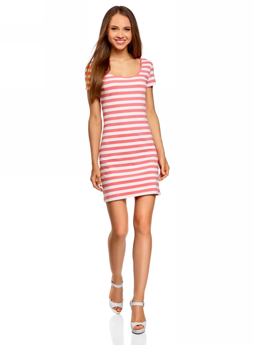 Платье жен oodji Ultra, цвет: розовый, белый, полоски. 14001182B/47420/4110S. Размер L (48)14001182B/47420/4110SБазовое облегающее платье с большим вырезом. Модель длиной ниже середины бедра. Короткий втачной рукав с двойной отстрочкой. Широкая круглая горловина отделан бейкой. Благодаря вырезу платье легко надевать. Мягкий трикотаж из натурального хлопка с незначительным добавлением эластана дышит, хорошо тянется и плотно облегает фигуру. Платье приятно для тела и не стесняет движений. Простой классический крой повторяет очертания силуэта. Облегающее платье прекрасно подойдет для фигур разного типа. Короткое трикотажное платье просто незаменимо в любом гардеробе. В нем можно пойти на дружескую встречу, прогулку по вечернему городу, в кино или кафе. В прохладную погоду сверху можно надеть жакет или укороченную куртку из кожи или замши. С платьем отлично сочетается обувь на каблуке – туфли-лодочки, босоножки, сандалии, ботильоны. С помощью неформальных кед или слипонов вы сможете создать спортивный и динамичный образ. Тоненький кожаный ремешок, оригинальный браслет или короткие бусы помогут завершить привлекательный лук. В таком платье вы будете чувствовать себя свободно и уверенно.