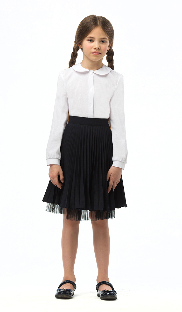 Блузка для девочек Смена, цвет: белый. 16С505. Размер 122/12816С505Блузка для девочки из смесового хлопка полуприлегающего силуэта.