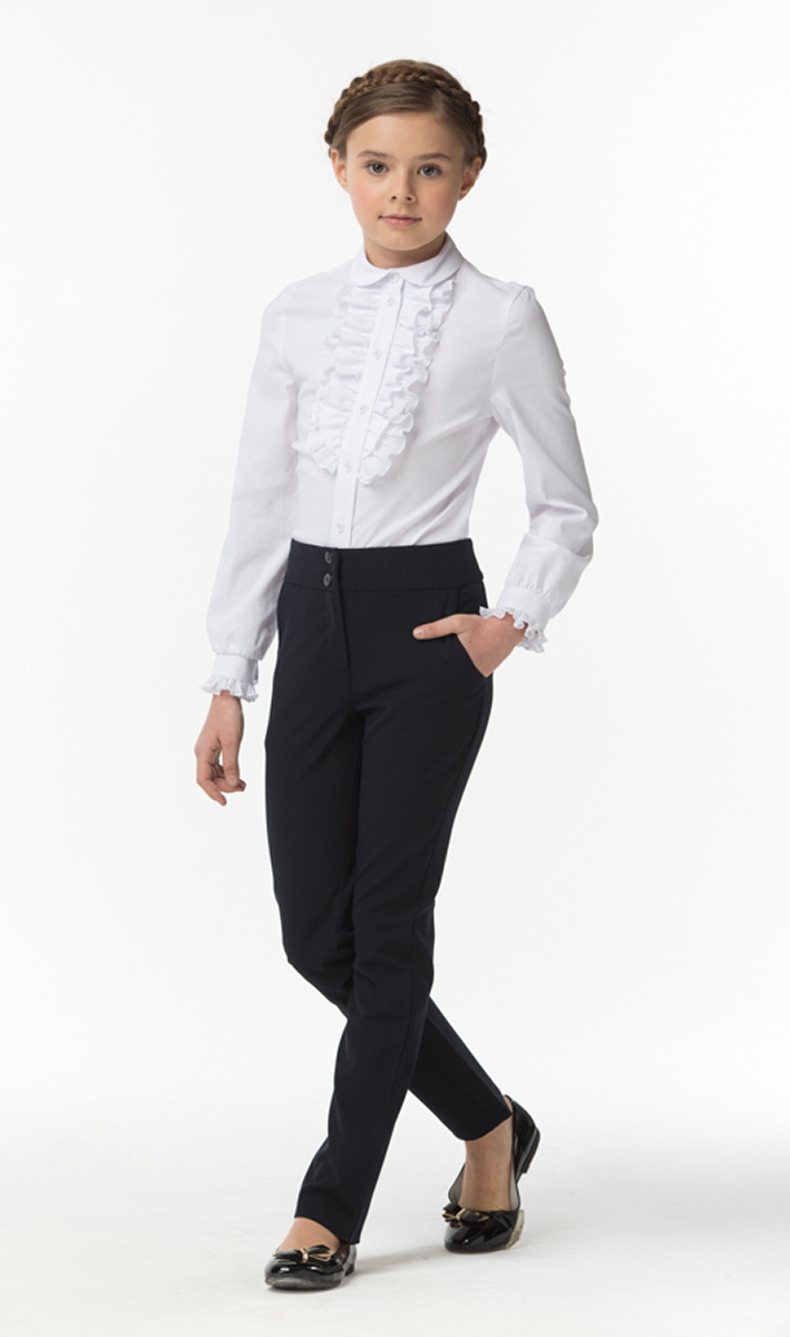 Блузка для девочек Смена, цвет: белый. 16с512. Размер 116/12216с512Блузка для девочки из смесового хлопка полуприлегающего силуэта.