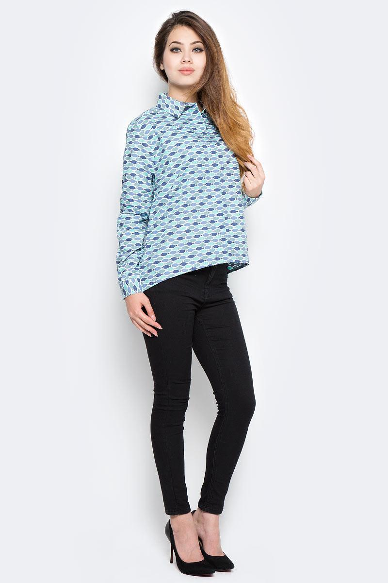 Рубашка женская Kawaii Factory Рыбки, цвет: зеленый, синий, темно-синий, белый. KW181-000002. Размер 42/46KW181-000002