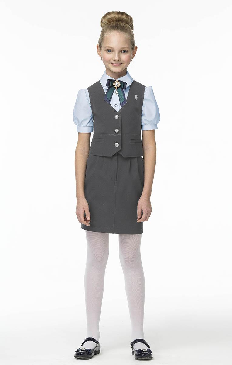 Жилет для девочек Смена, цвет: серый. 16с731-GG. Размер 134/14016с731-GGЖилет для девочки из смесовой вискозы,полуприлигающего силуэта.