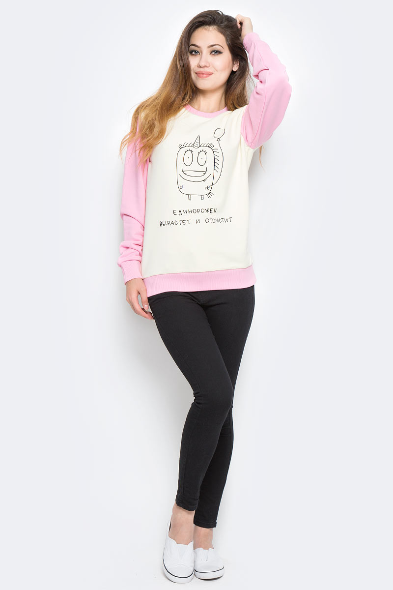 Свитшот женский Kawaii Factory Единорожек вырастет, цвет: белый, розовый. KW176-000006. Размер XS (40/42)KW176-000006