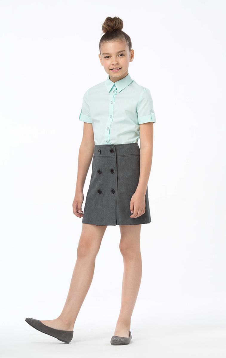 Юбка для девочек Смена, цвет: серый. 16с49. Размер 134/14016с49Двубортная юбка с кокеткой. из смесовой вискозы. Застёгивается на пуговицы спереди. Длина - выше колена.