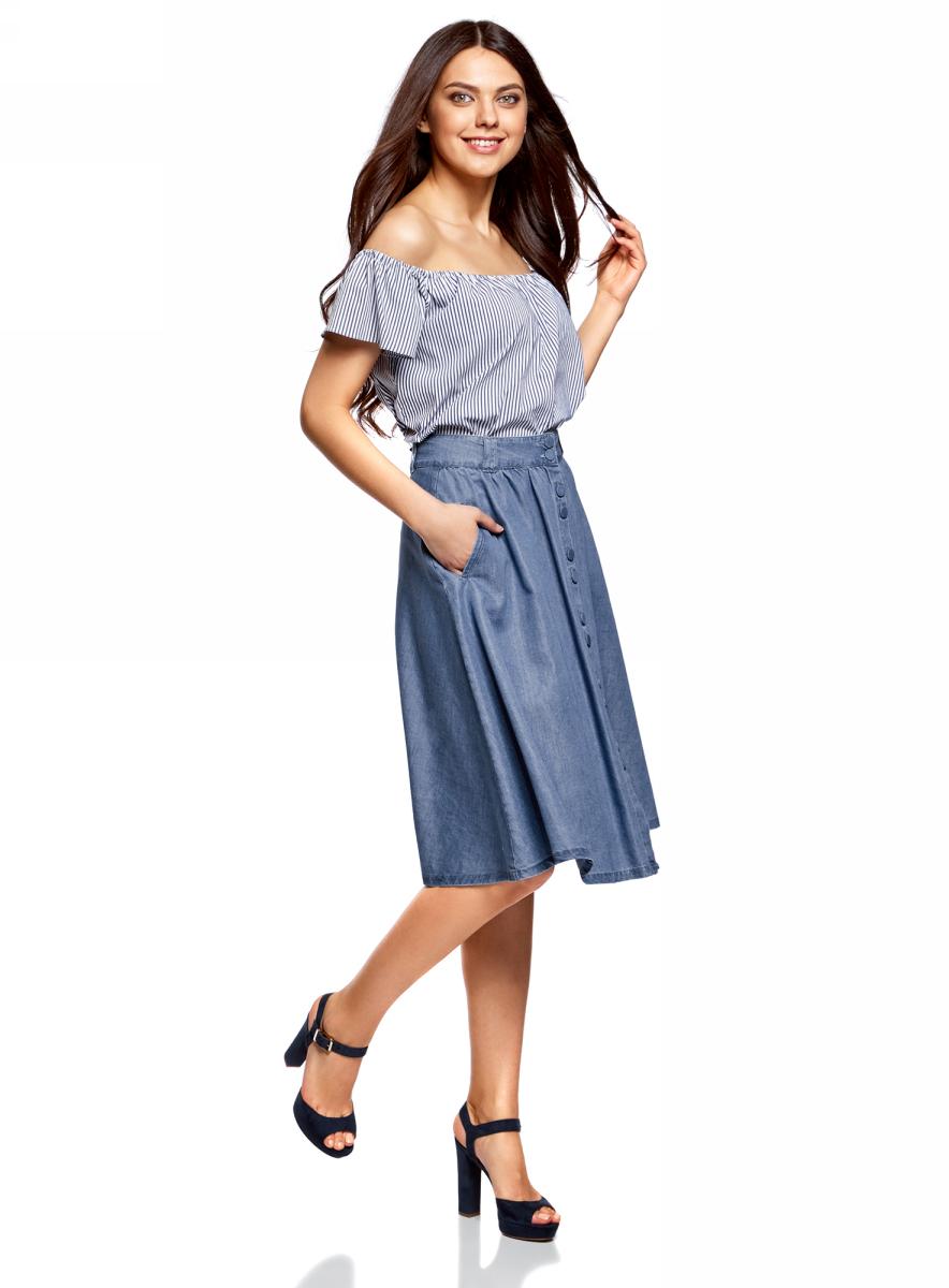 Юбка oodji Ultra, цвет: синий джинс. 11510008/46790/7500W. Размер 34-170 (40-170)11510008/46790/7500WЮбка oodji выполнена из качественной смесовой ткани. Юбка застегивается пуговицы, дополнена шлевками для ремня. Модель дополнена карманами.