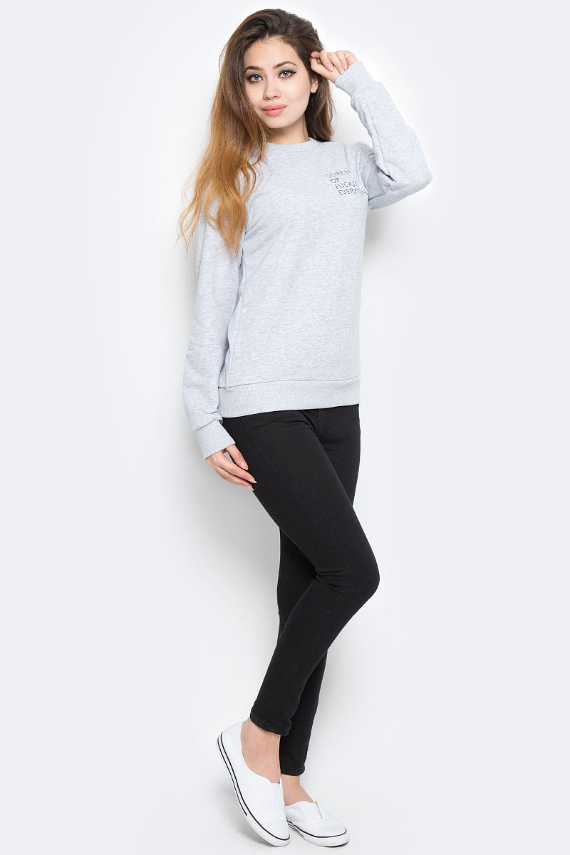 Свитшот женский Kawaii Factory Queen, цвет: серый. KW079-000117. Размер M (44)KW079-000117