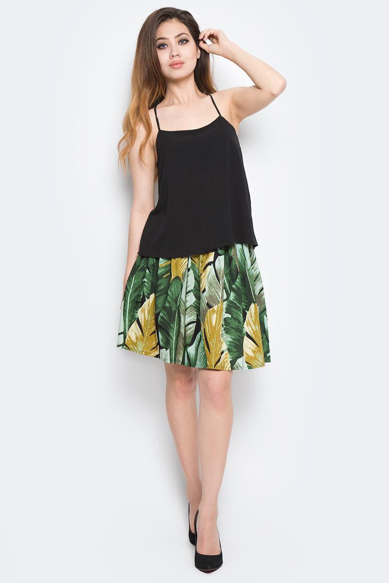 Топ женский Only, цвет: черный. 15137633_Black. Размер 42 (48)15137633_BlackТоп Only выполнен из полиэстера с добавлением эластана. Модель имеет бретельки, глубокое декольте и свободный крой.