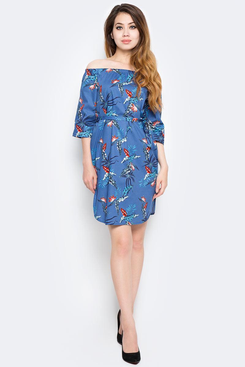 Платье Kawaii Factory Тропики, цвет: синий. KW177-000075. Размер M (44/46)KW177-000075