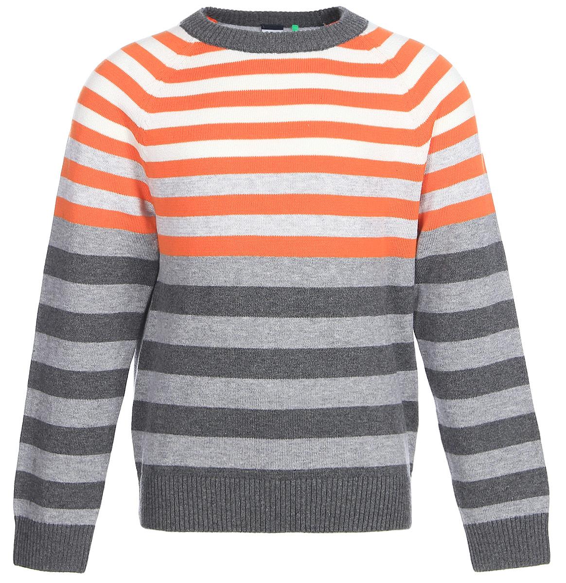 Джемпер для мальчика Sela, цвет: темно-серый меланж. JR-714/172-7310. Размер 110JR-714/172-7310Стильный джемпер для мальчика Sela поможет создать модный образ и станет отличным дополнением повседневного гардероба. Модель прямого кроя с длинными рукавами-реглан изготовлена из натурального хлопкового трикотажа мелкой вязки в полоску. Круглый вырез горловины, манжеты рукавов и низ изделия связаны резинкой. Модель подойдет для прогулок и дружеских встреч и будет отлично сочетаться с джинсами и брюками.