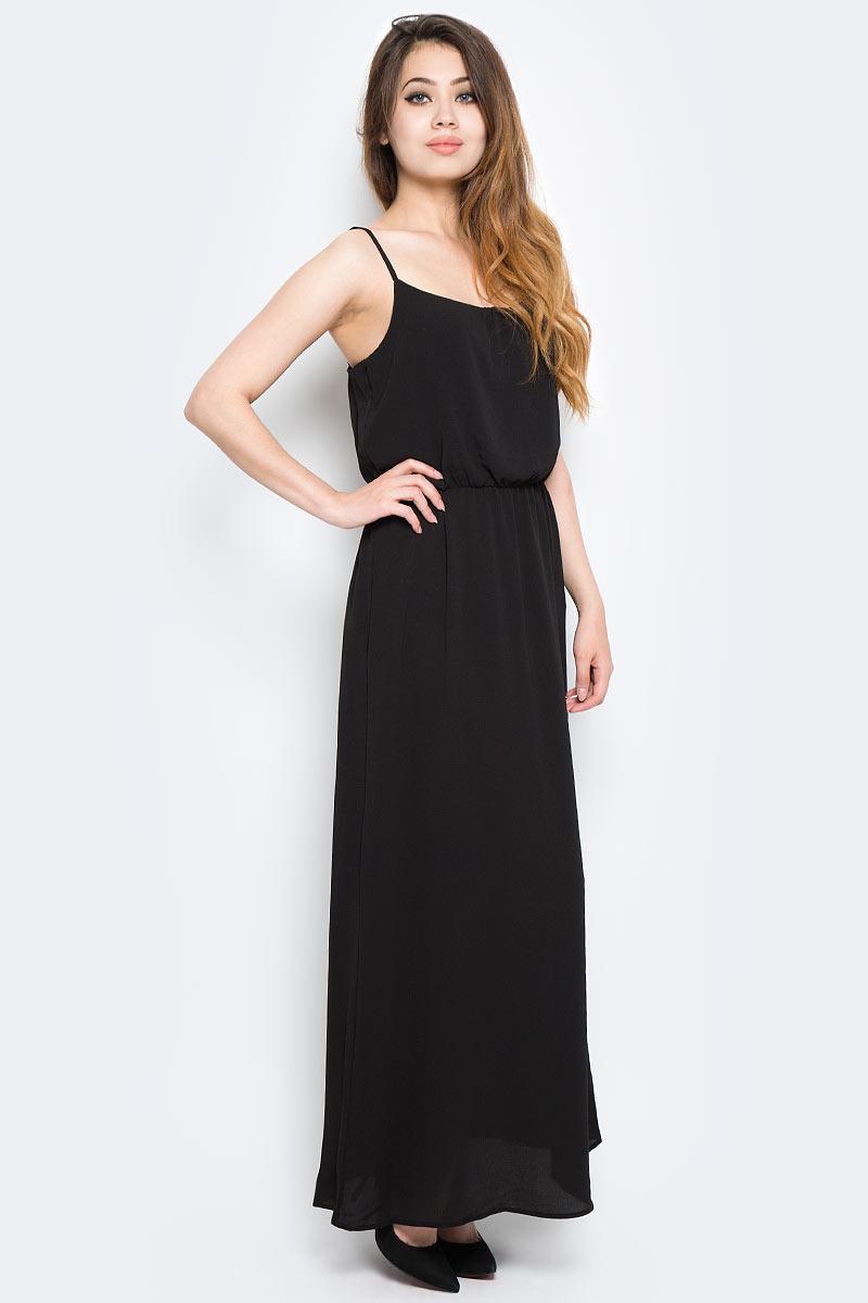 Платье Only, цвет: черный. 15137616_Black. Размер 34 (40)15137616_BlackСтильное платье Only выполнено из полиэстера с добавлением эластана. Модель длины макси имеет бретельки и круглое декольте. Талия дополнена резинкой.