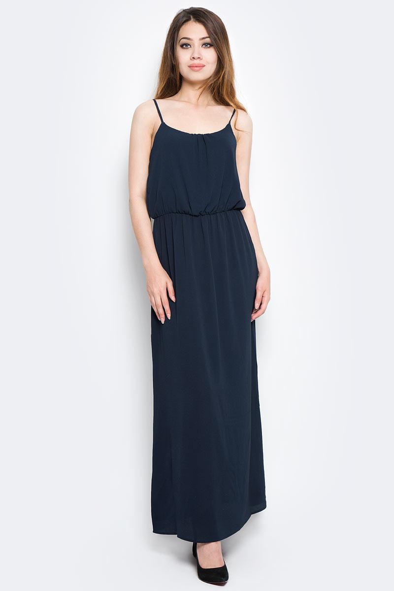 Платье Only, цвет: синий. 15137616_Night Sky. Размер 40 (46)15137616_Night SkyСтильное платье Only выполнено из полиэстера с добавлением эластана. Модель длины макси имеет бретельки и круглое декольте. Талия дополнена резинкой.