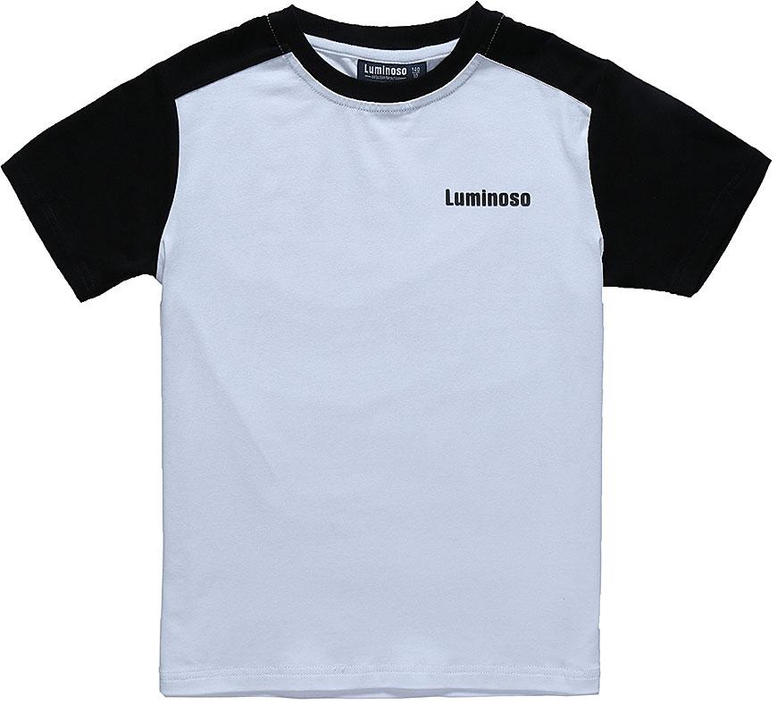 Футболка для мальчика Luminoso, цвет: белый, черный. 727084. Размер 152727084Базовая футболка для мальчика Luminoso выполнена из хлопка с добавлением эластана. Модель имеет короткие рукава и круглый вырез горловины. На груди футболка дополнена надписью с названием бренда.