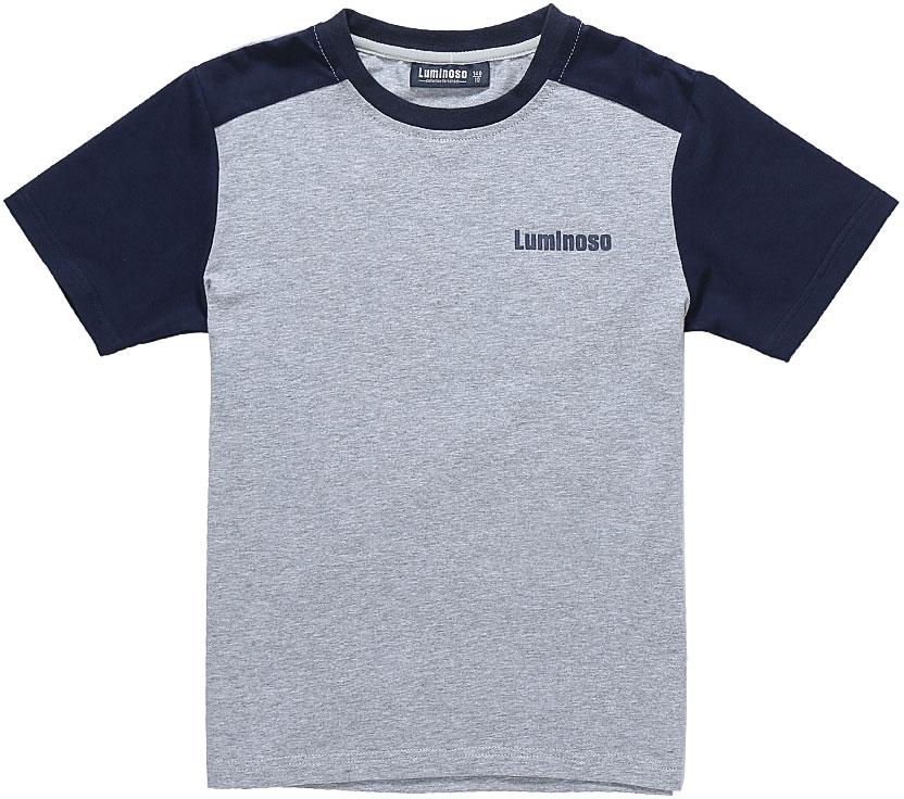 Футболка для мальчика Luminoso, цвет: серый меланж, темно-синий. 727085. Размер 140727085Базовая футболка для мальчика Luminoso выполнена из хлопка с добавлением эластана. Модель имеет короткие рукава и круглый вырез горловины. На груди футболка дополнена надписью с названием бренда.