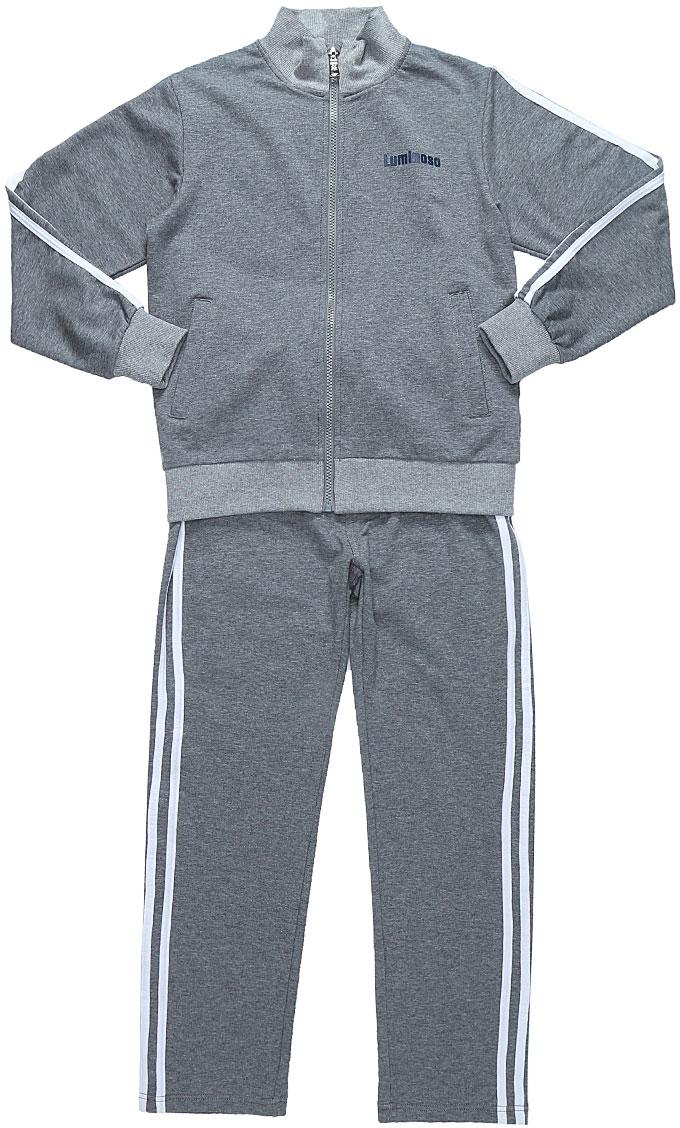 Спортивный костюм для мальчика Luminoso, цвет: серый меланж. 727089. Размер 128727089Спортивный костюм для мальчика Luminoso состоит из куртки и брюк. Изделия выполнены из эластичного хлопка. Куртка имеет длинные рукава, воротник-стойку и застежку на молнию. Спереди расположены два втачных кармана. Брюки имеют широкую резинку на талии и шнурок для регулировки посадки. Манжеты рукавов, воротник и низ куртки отделаны эластичной резинкой. Модель дополнена лампасами.