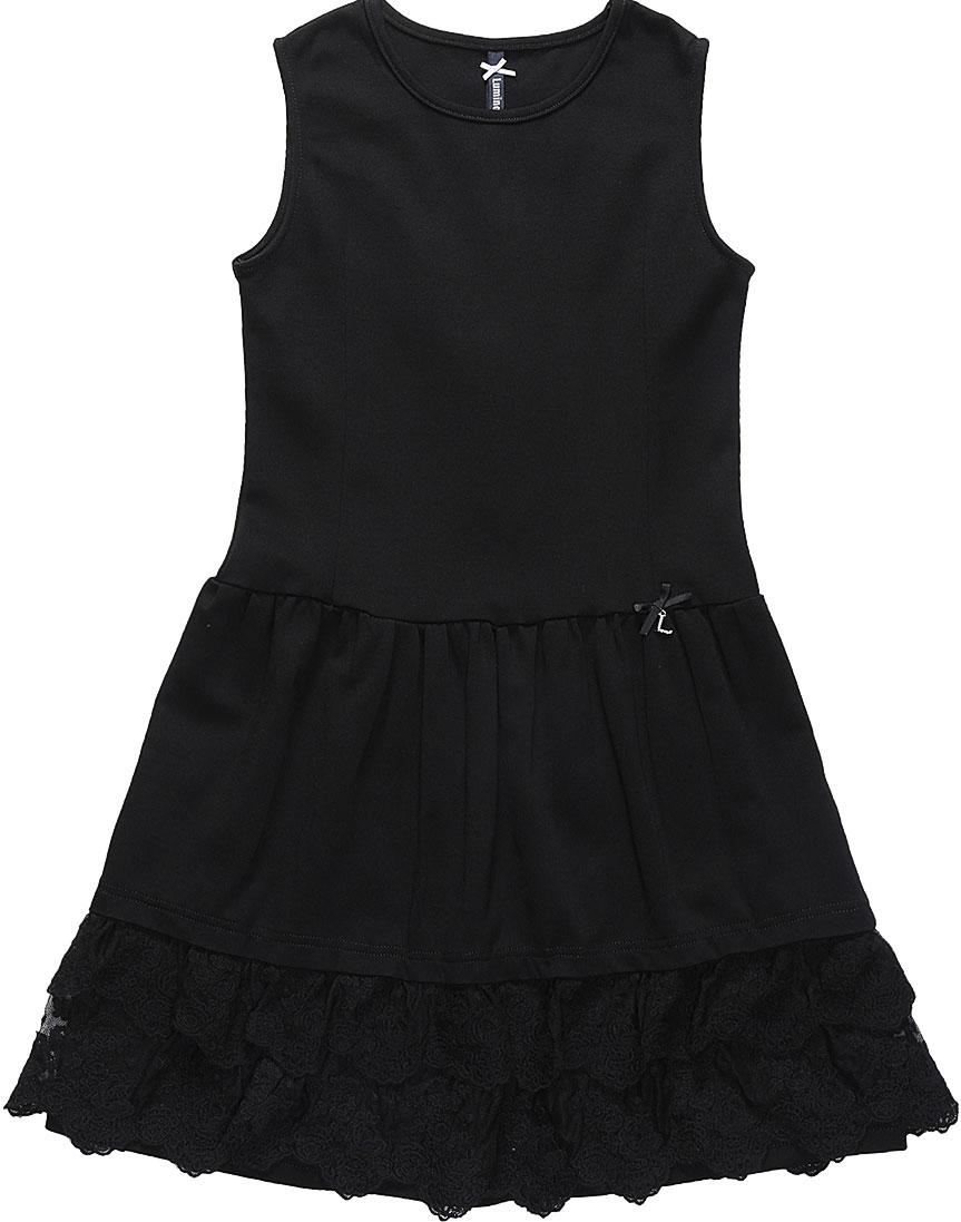 Платье Luminoso, цвет: черный. 728061. Размер 122728061Платье Luminoso изготовлено из хлопка и полиэстера с добавлением эластана. Модель без рукавов имеет круглый вырез горловины и пышную юбочку, отделанную кружевом. Платье в области талии дополнено бантиком с подвеской.