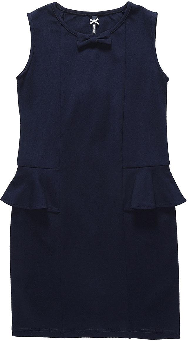 Платье Luminoso, цвет: темно-синий. 728071. Размер 158728071Стильное платье-футляр Luminoso изготовлено из хлопка и полиэстера с добавлением эластана. Модель без рукавов имеет круглый вырез горловины. По бокам платье дополнено воланами, горловина украшена бантиком.