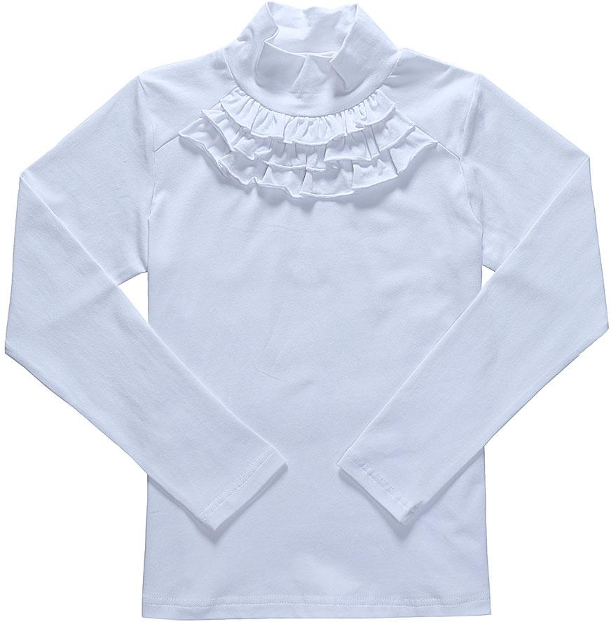 Водолазка для девочки Luminoso, цвет: белый. 728102. Размер 122728102Водолазка для девочки Luminoso выполнена из хлопка с добавлением эластана. Модель имеет длинные рукава и воротник-стойку. На груди водолазка дополнена рюшами.