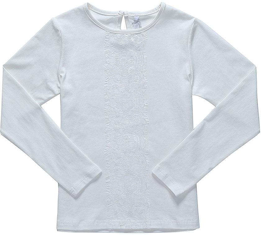 Блузка для девочки Luminoso, цвет: молочный. 728119. Размер 122728119Блузка Luminoso выполнена из хлопка с добавлением эластана. Модель имеет длинные рукава и круглый вырез горловины. Сзади вырез капелька и застежка на пуговицу. Блузка спереди дополнена кружевом.